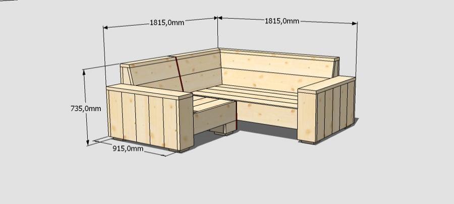 bouwtekeningen steigerhouten bank